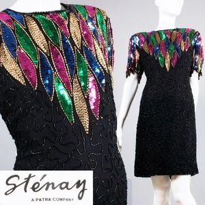 XL Vintage NOS Stenay Sequin SILK Party Dress